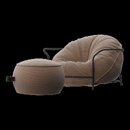 Дизайнерское кресло Uni Бежевый с каркасом и пуфом
