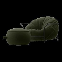 Дизайнерское Кресло Uni Хаки с каркасом и пуфом